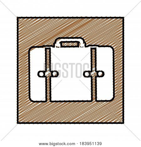 color pencil drawing square frame with suitcase icon vector illustration