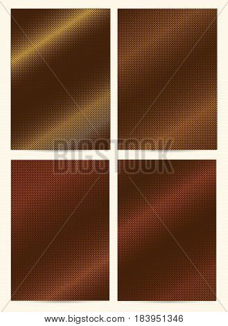 Set Of A4 Size Cards Size With Halftone Patterns, Golden, Cooper Textures. Vector Business Templates