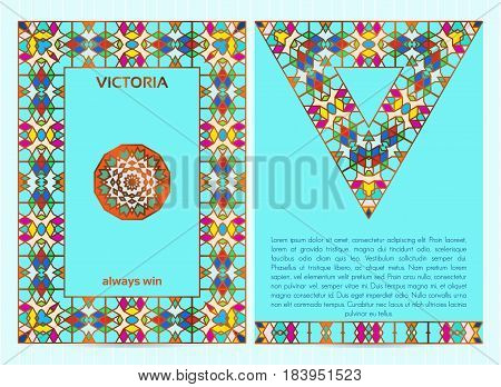 A4 Size Business Template With Colorful Mosaic Frame, Border, Mandala And Triangle, Golden Inserts,
