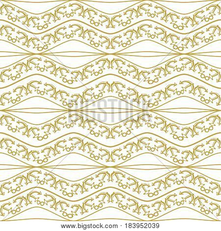 Seamless pattern with chains. Ongoing stripes background of marine theme golden color. Vector illustration