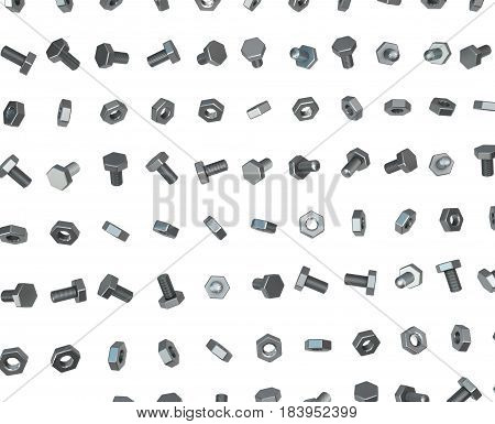Nuts and bolts metal lines 3d illustration isolated horizontal over white