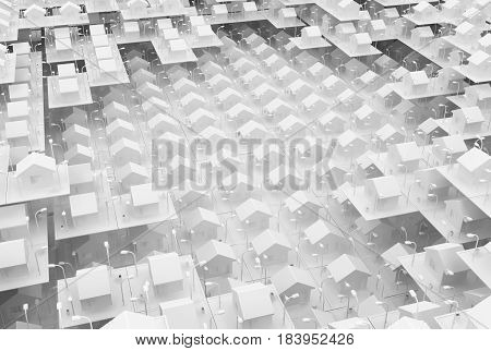 Small white house layers many grid 3d illustration horizontal