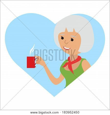 Young woman with cup in her hand drinking hot coffee. Vector illustration icon isolated on white background.