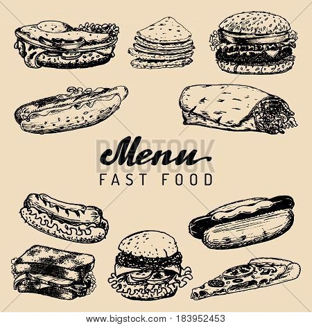 Fast food menu in vector. Burgers, hot dogs, sandwiches illustrations. Vintage hand drawn quick meals collection. Snack bar, street restaurant, cafe icons.