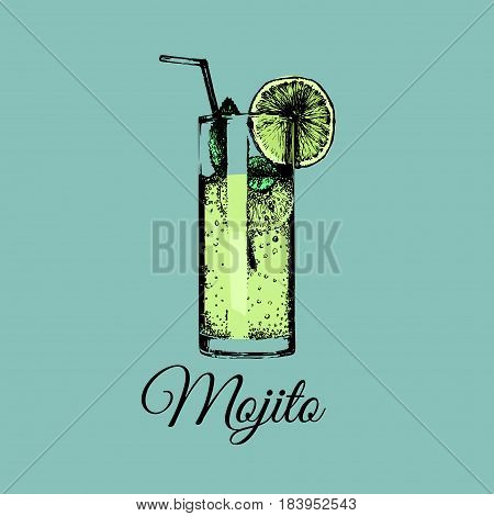 Mojito glass isolated. Vector illustration of alcoholic drink. Hand drawn sketch of traditional cocktail with slice of lime and straw. Restaurant, bar, cafe menu design. Party icon.