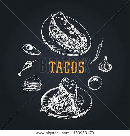 Tacos menu in vector. Burritos, nachos, tacos illustrations. Vintage hand drawn Mexican quick meals collection. Snack bar, fast-food restaurant icons.