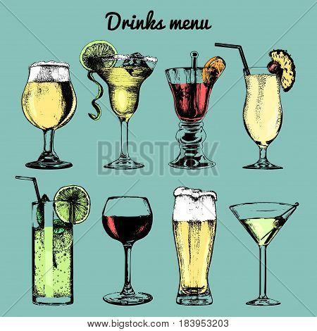 Drinks menu. Hand sketched cocktails glasses. Vector set of alcoholic beverages illustrations, beer, pina colada, margarita, red wine, mojito, vodkatini etc isolated.