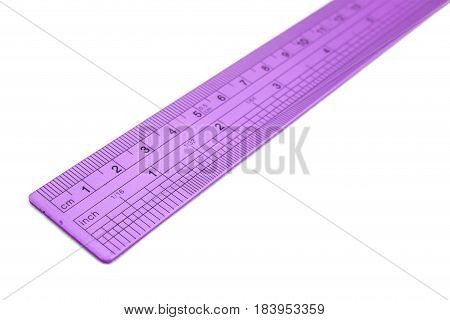 The metal ruler isolated on white background.