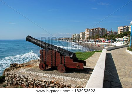 TORROX COSTA, SPAIN - OCTOBER 27, 2008 - Cannon on the edge of sea with views along the beach Torrox Costa Malaga Province Andalusia Spain Western Europe, October 27, 2008.