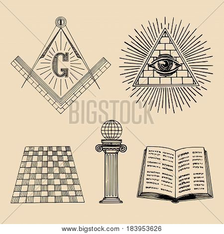 Vector masonic symbols set. Sacred society icons, freemasonry emblems, logotypes. Esoteric illustrations collection