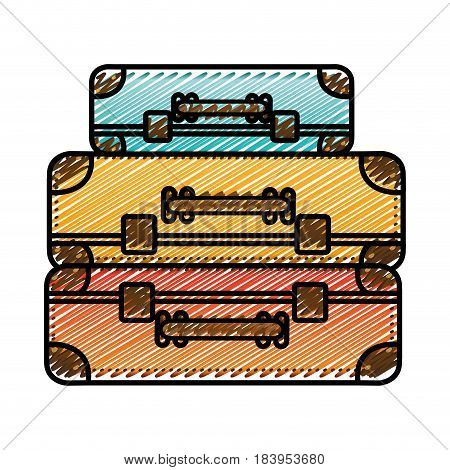 color pencil drawing silhouette with set of suitcases set in several colors vector illustration