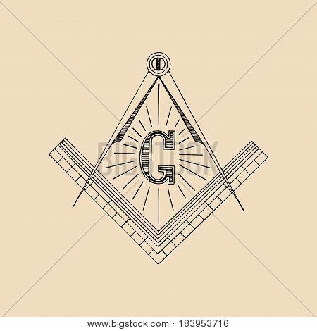 Masonic square and compass symbol, emblem, logo. Freemasonry vector illustration
