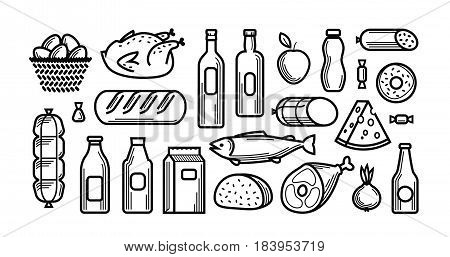 Grocery store. Food and drinks icons set. Vector illustration isolated on white background
