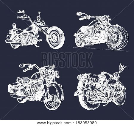 Vector illustration of hand sketched vintage motorcycles. Detailed drawings for custom bikes companies, chopper stores, garage labels, t-shirt prints, posters.