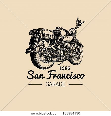 Custom garage logo. Vector hand drawn motorcycle in ink style. Vintage detailed retro bike illustration for chopper company, store, MC sign, label, t-shirt print etc.