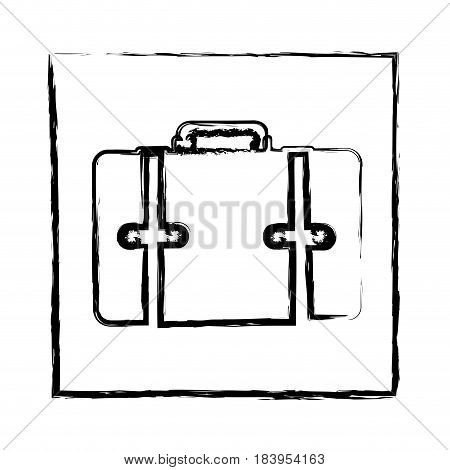 monochrome blurred silhouette of frame with suitcase vector illustration