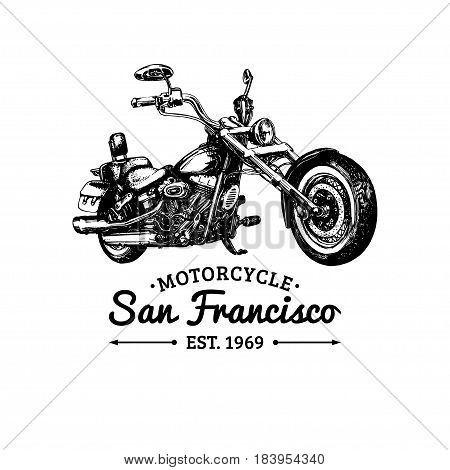 Biker club logo. Vector hand drawn motorcycle in ink style. Vintage detailed chopper illustration for custom company, store, MC sign, garage label etc.