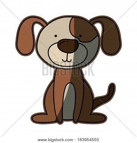 colorful caricature with cute dog vector illustration