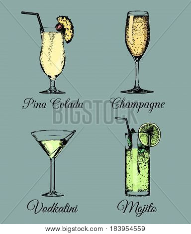 Cocktails and glasses. Hand sketched color alcoholic beverages. Vector set of drinks illustrations, Vodkatini, Mojito, Pina Colada, Champagne isolated.