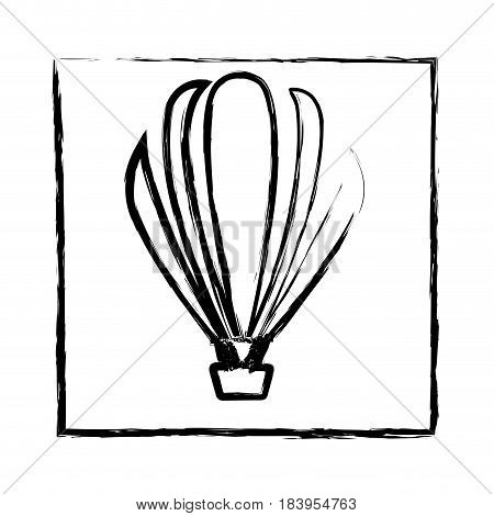 monochrome blurred silhouette of frame with hot air balloon vector illustration