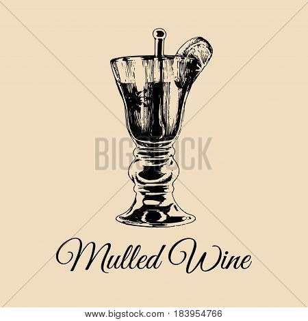 Mulled wine glass isolated. Hand drawn sketch of traditional grog, punch for restaurant, bar, cafe menu design. Alcoholic drink logo.