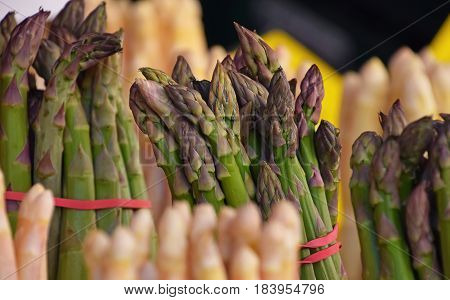 Bundle Of Fresh Green Asparagus Close Up