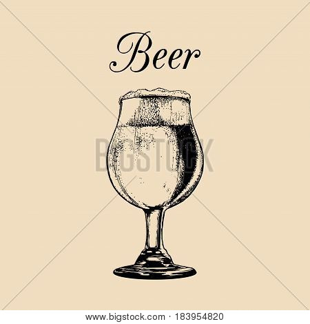 Beer glass isolated. Hand drawn sketch of ale, lager for restaurant, bar, pub, cafe menu design