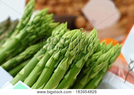 Bundle Of Fresh Green Asparagus Close Up