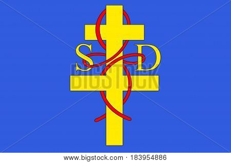 Flag of Saint-Die-des-Vosges commonly referred to as Saint-Die is a commune in the Vosges department in Grand Est in northeastern France. Vector illustration