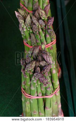 Bundles Of Fresh Green Asparagus Close Up