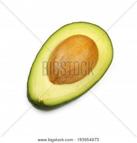 Fresh Green Ripe Avocado Isolated On White