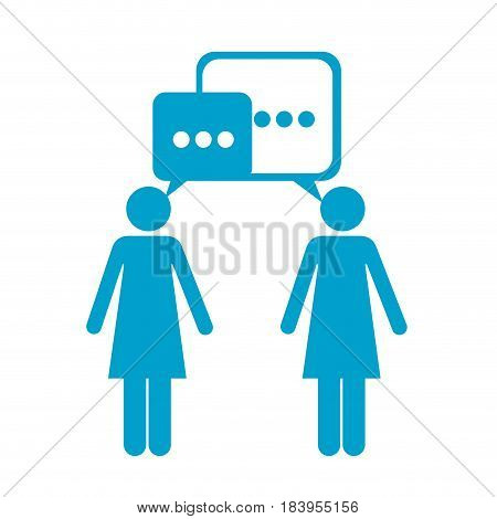 blue silhouette of pictogram women's dialogue vector illustration