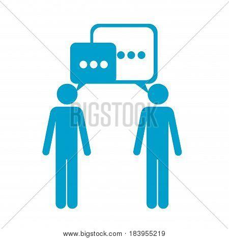 blue silhouette of pictogram men's dialogue vector illustration