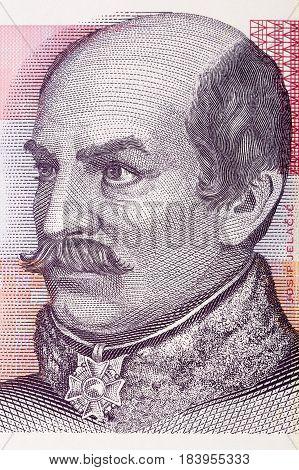 Count Josip Jelacic von Buzim portrait from Croatian money poster