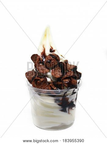 soft serve ice cream in a cup with topping