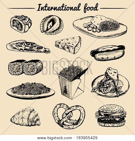 Vector international food menu. Fusion cuisine carte. Vintage hand drawn quick meals collection. Hipster snack bar, fast-food restaurant icons.