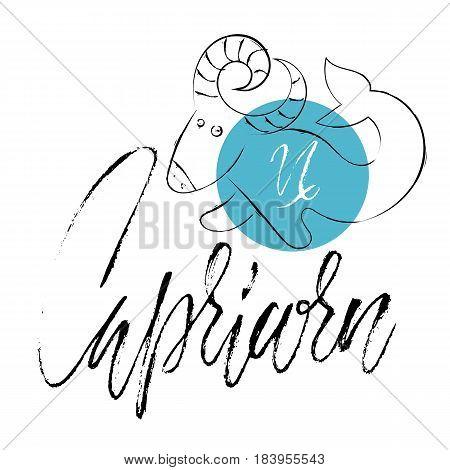 Hand Drawn Astrological Zodiac Sign Capricorn. Vector Illustration. Horoscope Symbol. Handwritten Gr