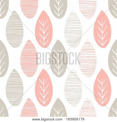 Seamless pastel nature vector pattern. Grey and pink leaves with lines and twigs on white background. Hand drawn abstract spring ornament