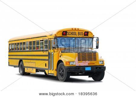 Traditional yellow schoolbus isolated on white background