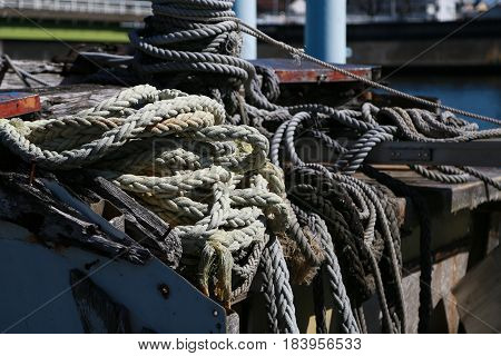 A scene of a cluttered rope on an old ship
