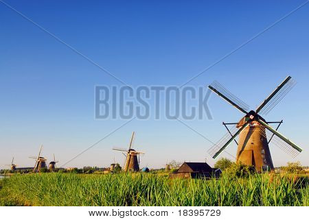 Famous windmill park Kinderdijk in Holland