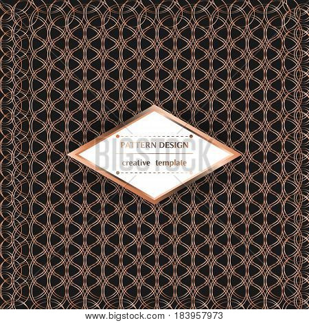 Square pattern with metallic circles on black background. Vector template for flyer card brochure cover textile tile etc.