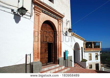 ALOZAINA, SPAIN - OCTOBER 29, 2008 - Front entrance to the Santa Ana Parish church Alozaina Malaga Province Andalusia Spain Western Europe, October 29, 2008.
