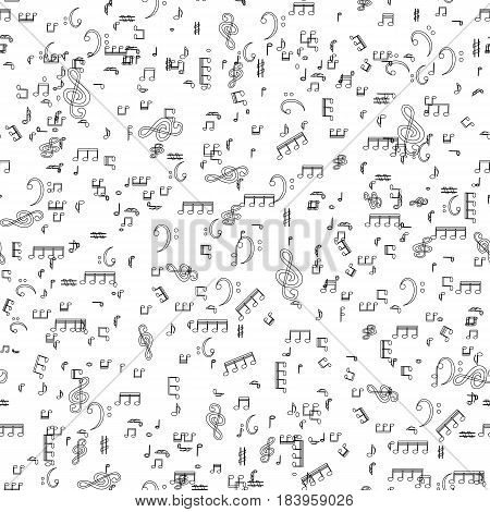 Seamless pattern from Set of musical notes and Treble clef. Vector Illustration. EPS10