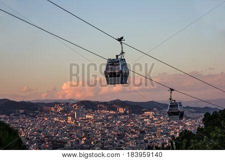 Barcelona city view, Spain. Cable car Teleferic de Montjuic