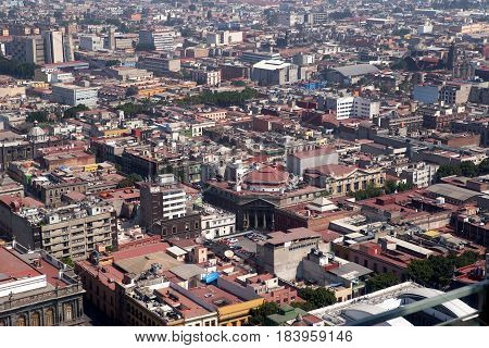 Aerial view of Mexico City Centro Historico, Mexico