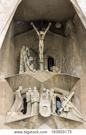 Barcelona, Spain - April 23, 2017: Crucifixion in Sagrada Familia Church, Gaudi