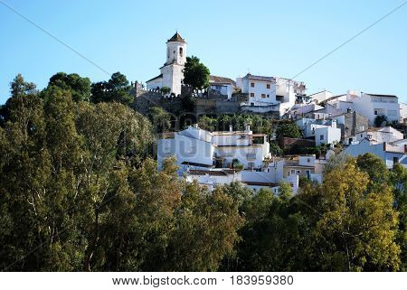 View of the white town with the church at the top of the hill Alozaina Malaga Province Andalusia Spain Western Europe.