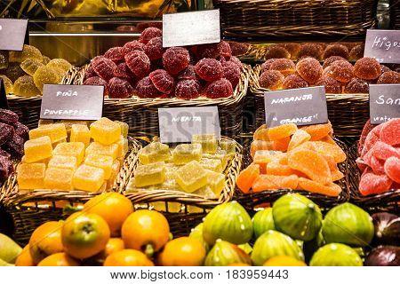 Sweets on Barcelona market. Marmelade and figs delights Mercat de la Boqueria Sant Josep