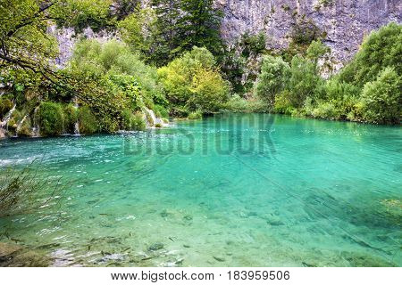 Plitvice lake water Croatia natural travel background national park